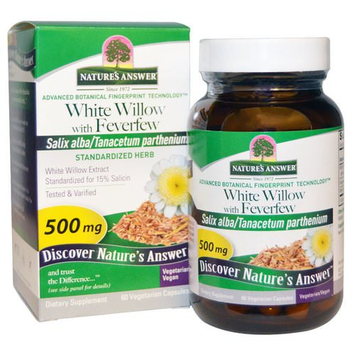Nature's Answer, White Willow with Feverfew, 500 mg, 60 Vegetarian Capsules Review
