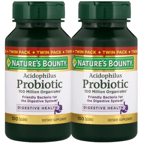 Nature's Bounty, Acidophilus Probiotic, Twin Pack, 100 Tablets Each Review