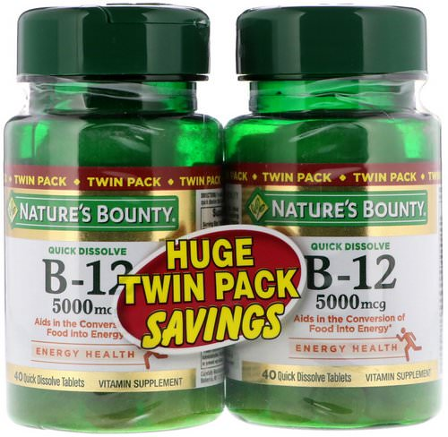 Nature's Bounty, B-12, Twin Pack, Naturally Cherry Flavor, 5000 mcg, 40 Quick Dissolve Tablets Each Review
