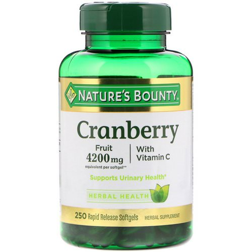 Nature's Bounty, Cranberry, With Vitamin C, 250 Rapid Release Softgels Review