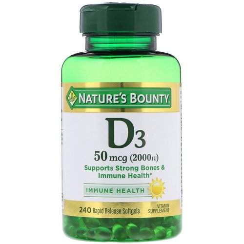 Nature's Bounty, D3, Immune Health, 50 mcg (2,000 IU), 240 Rapid Release Softgels Review