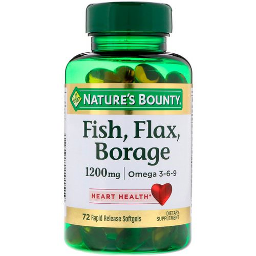 Nature's Bounty, Fish, Flax, Borage, 1,200 mg, 72 Rapid Release Softgels Review