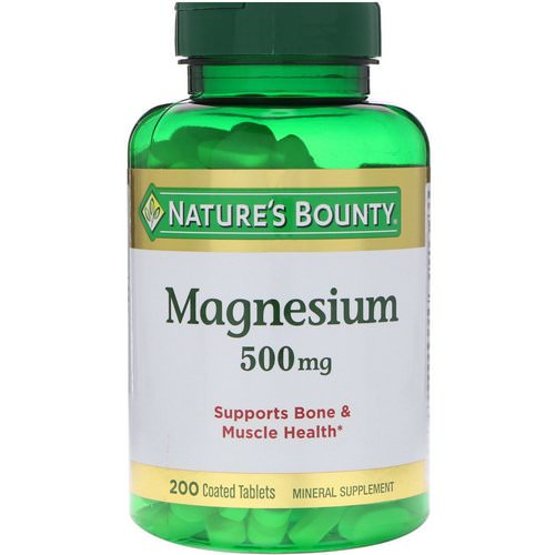 Nature's Bounty, Magnesium, 500 mg, 200 Coated Tablets Review