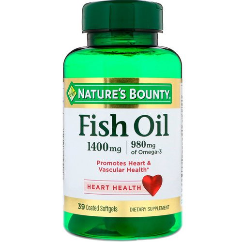 Nature's Bounty, Fish Oil, Triple Strength, 1400 mg, 39 Coated Softgels Review