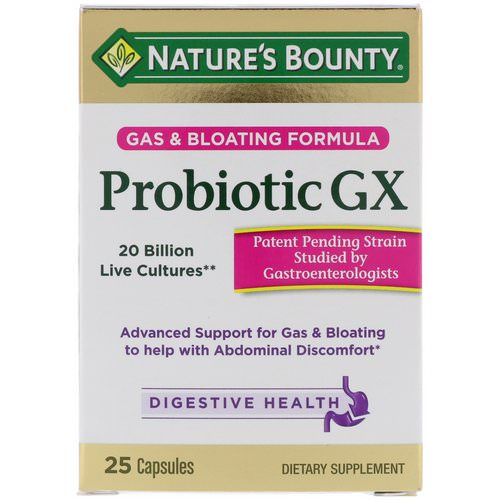 Nature's Bounty, Probiotic GX, Gas & Bloating Formula, 25 Capsules Review