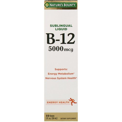 Nature's Bounty, Sublingual Liquid, Vitamin B12, 5,000 mcg, 2 fl oz (59 ml) Review