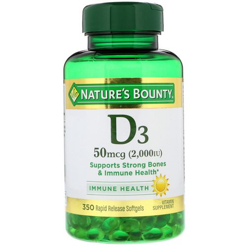 Nature's Bounty, D3, 50 mcg (2000 IU), 350 Softgels Review