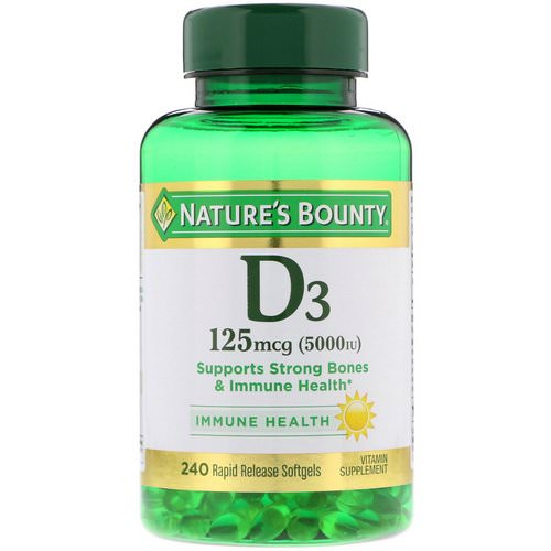 Nature's Bounty, D3, 125 mcg (5000 IU), 240 Rapid Release Softgels Review