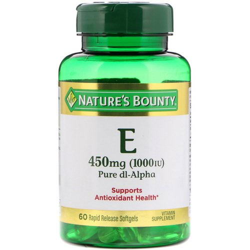 Nature's Bounty, Vitamin E, Pure Dl-Alpha, 450 mg (1000 IU), 60 Rapid Release Softgels Review