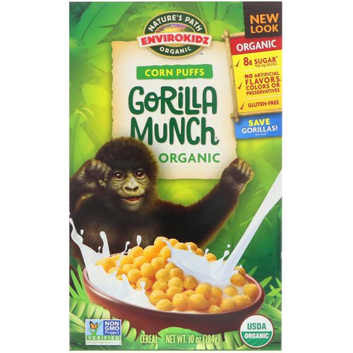Nature's Path, EnviroKidz, Organic Corn Puffs Gorilla Munch Cereal, 10 oz (284 g) Review