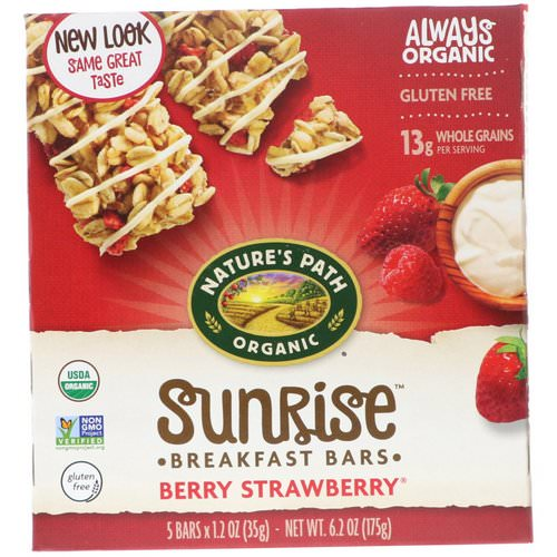 Nature's Path, Organic, Sunrise Breakfast Bars, Berry Strawberry, 5 Bars, 1.2 oz (35 g) Each Review