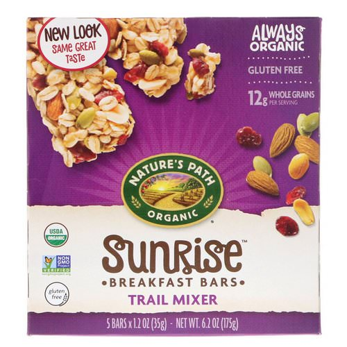 Nature's Path, Organic, Sunrise Breakfast Bars, Trail Mixer, Gluten Free, 5 Bars, 1.2 oz (35 g) Each Review