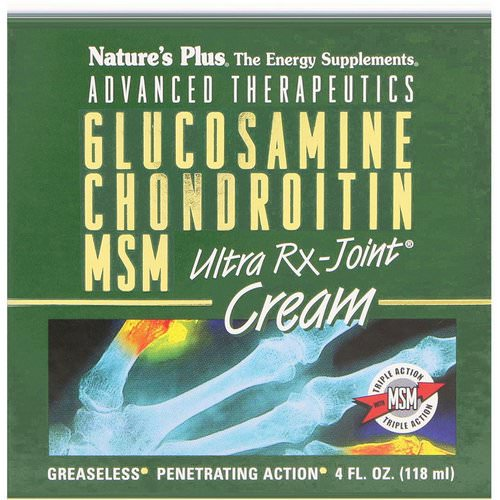 Nature's Plus, Advanced Therapeutics, Glucosamine Chondroitin MSM Ultra Rx-Joint Cream, 4 fl oz (118 ml) Review