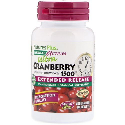 Nature's Plus, Herbal Actives, Ultra Cranberry 1500, 1,500 mcg, 30 Vegetarian Tablets Review