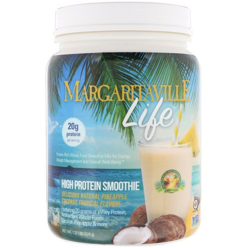 Nature's Plus, Margaritaville Life, High Protein Smoothie, Natural Pineapple Coconut Tropical Flavor, 1.27 lbs (574 g) Review