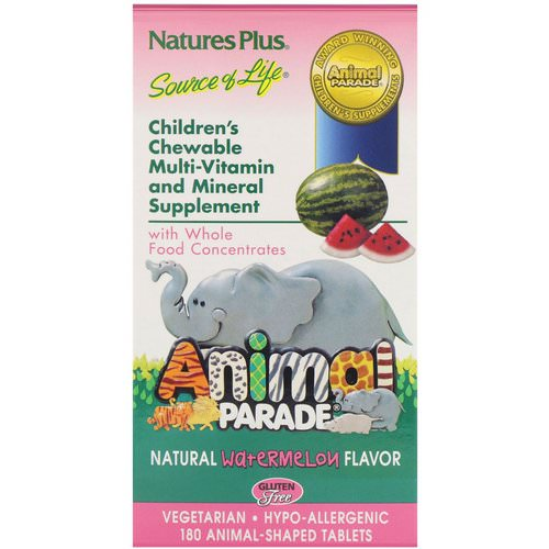 Nature's Plus, Source of Life, Animal Parade, Children's Chewable, Natural Watermelon Flavor, 180 Animal-Shaped Tablets Review