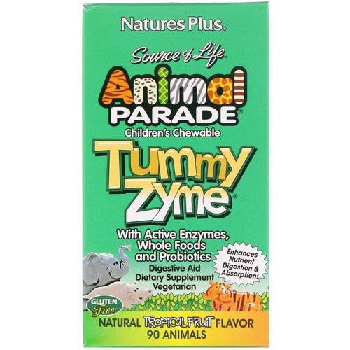 Nature's Plus, Source of Life, Animal Parade, Children's Chewable Tummy Zyme with Active Enzymes, Whole Foods and Probiotics, Natural Tropical Fruit Flavor, 90 Animals Review