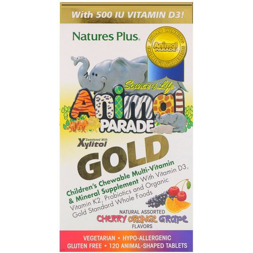 Nature's Plus, Source of Life Animal Parade Gold, Children's Chewable Multi-Vitamin & Mineral Supplement, Natural Assorted Flavors, 120 Animal-Shaped Tablets Review