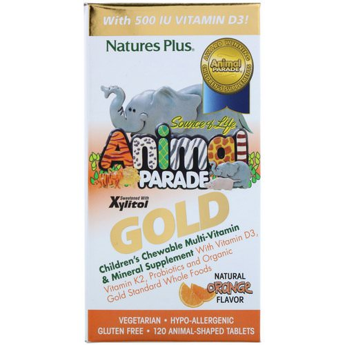 Nature's Plus, Source of Life, Animal Parade Gold, Children's Chewable Multi-Vitamin & Mineral Supplement, Natural Orange Flavor, 120 Animal Shaped Tablets Review