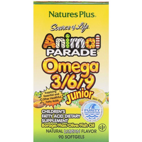 Nature's Plus, Source of Life, Animal Parade, Omega 3/6/9 Junior, Natural Lemon Flavor, 90 Softgels Review