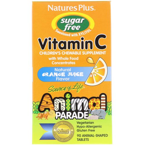 Nature's Plus, Source of Life, Animal Parade, Vitamin C, Children's Chewable Supplement, Sugar Free, Natural Orange Juice Flavor, 90 Animal-Shaped Tablets Review