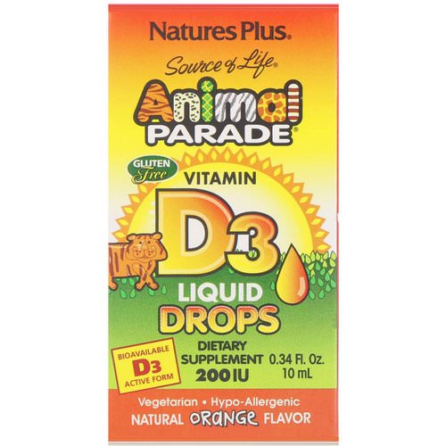 Nature's Plus, Source of Life, Animal Parade, Vitamin D3, Liquid Drops, Natural Orange Flavor, 200 IU, 0.34 fl oz (10 ml) Review