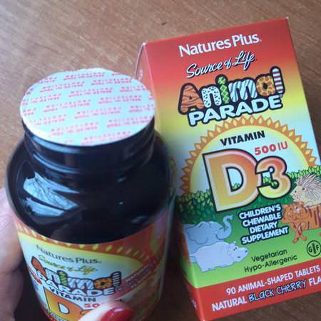 Nature's Plus, Source of Life, Animal Parade, Vitamin D3, Natural Black Cherry Flavor, 500 IU, 90 Animal-Shaped Tablets Review