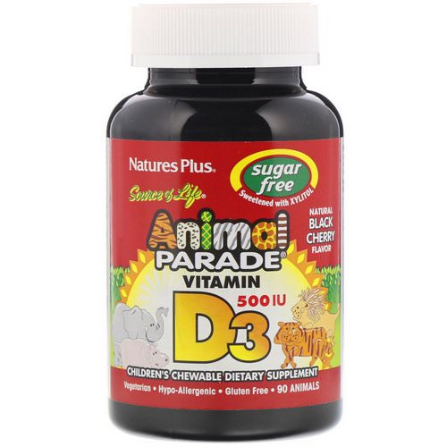 Nature's Plus, Source of Life, Animal Parade, Vitamin D3, Sugar Free, Natural Black Cherry Flavor, 500 IU, 90 Animal-Shaped Tablets Review