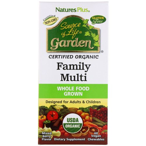 Nature's Plus, Source of Life, Garden, Organic Family Multi, Mixed Berry Flavor, 60 Vegan Chewables Review