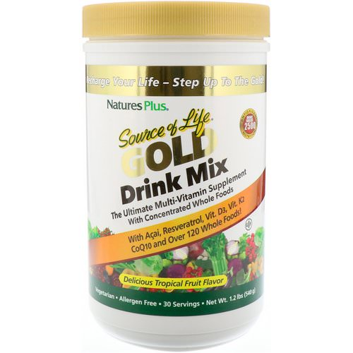 Nature's Plus, Source of Life Gold Drink Mix, Delicious Tropical Fruit Flavor, 1.2 lbs (540 g) Review