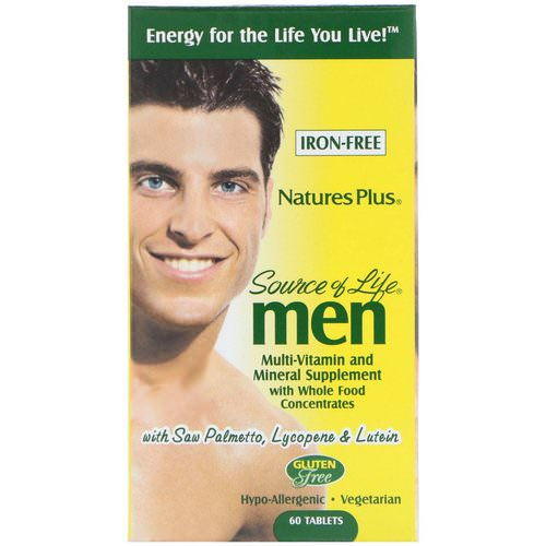 Nature's Plus, Source of Life Men, Multi-Vitamin and Mineral Supplement, Iron-Free, 60 Tablets Review