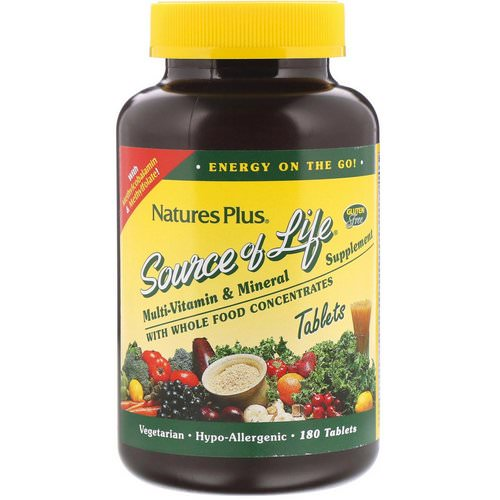 Nature's Plus, Source of Life, Multi-Vitamin & Mineral Supplement with Whole Food Concentrates, 180 Tablets Review