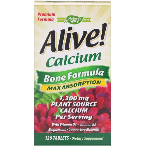 Nature's Way, Alive! Calcium, Bone Formula, 1,300 mg, 120 Tablets Review