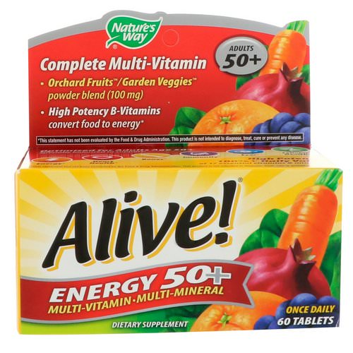 Nature's Way, Alive! Energy 50+, Multivitamin-Multimineral, For Adults 50+, 60 Tablets Review