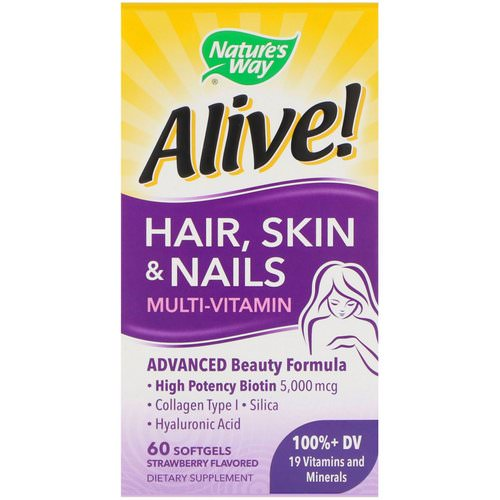 Nature's Way, Alive! Hair, Skin & Nails Multi-Vitamin, Strawberry Flavored, 60 Softgels Review