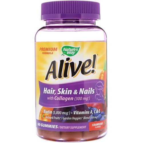 Nature's Way, Alive! Hair, Skin & Nails with Collagen, Strawberry Flavored, 60 Gummies Review