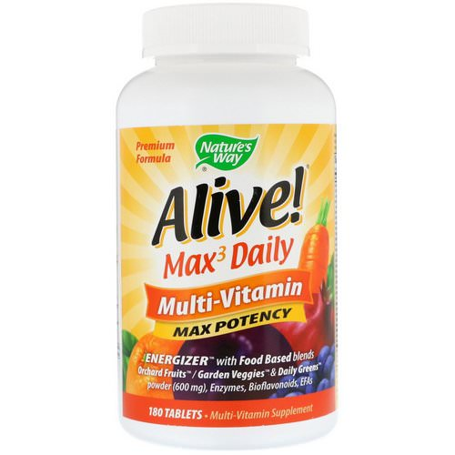 Nature's Way, Alive! Max3 Daily, Multi-Vitamin, 180 Tablets Review