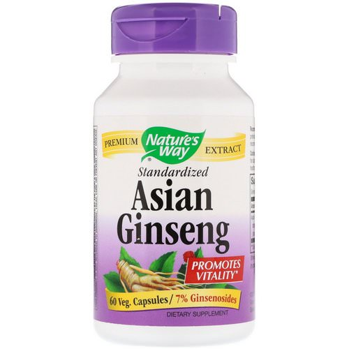 Nature's Way, Asian Ginseng, Standardized, 60 Veggie Caps Review