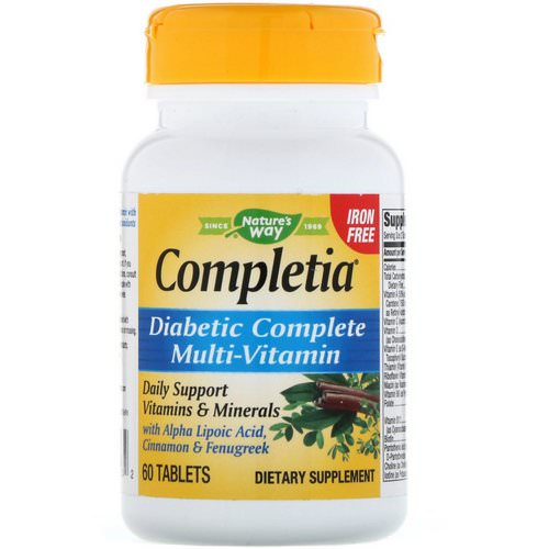 Nature's Way, Completia, Diabetic Complete Multi-Vitamin, Iron Free, 60 Tablets Review