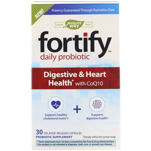 Nature's Way, Fortify, Daily Probiotic, Digestive & Heart Health with CoQ10, 30 Delayed-Release Capsules Review