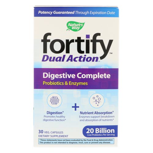 Nature's Way, Fortify, Dual Action Digestive Complete, 20 Billion, 30 Veg. Capsules Review