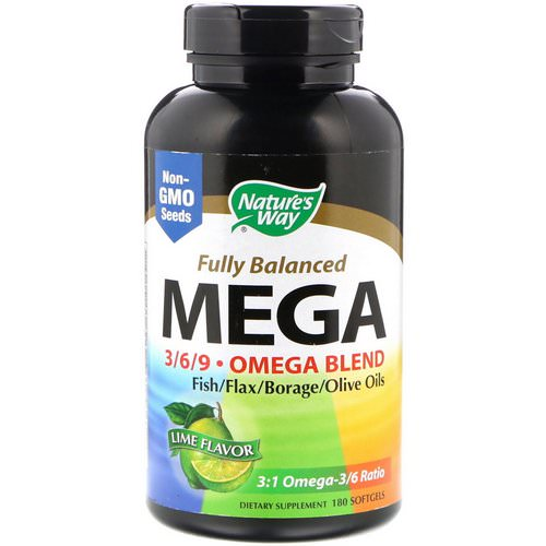 Nature's Way, Fully Balanced Mega 3/6/9, Omega Blend, Lime Flavor, 180 Softgels Review