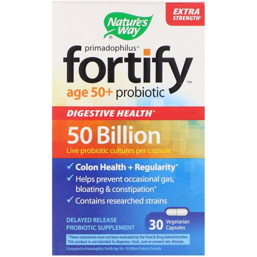 Nature's Way, Primadophilus, Fortify, Age 50+ Probiotic, Extra Strength, 30 Vegetarian Capsules Review