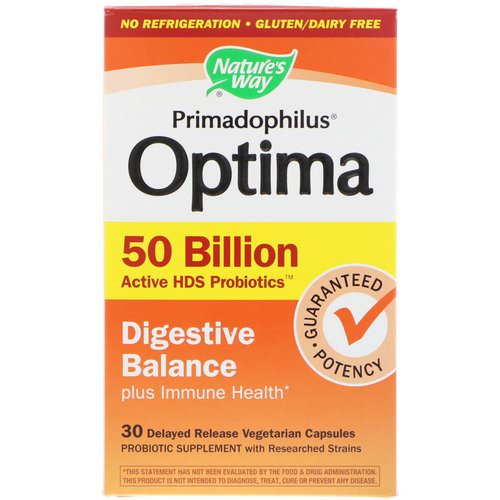 Nature's Way, Primadophilus Optima, Digestive Balance Plus Immune Health, 30 Delayed Release Vegetarian Capsules Review