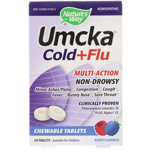 Nature's Way, Umcka, Cold + Flu, Berry, 20 Chewable Tablets Review