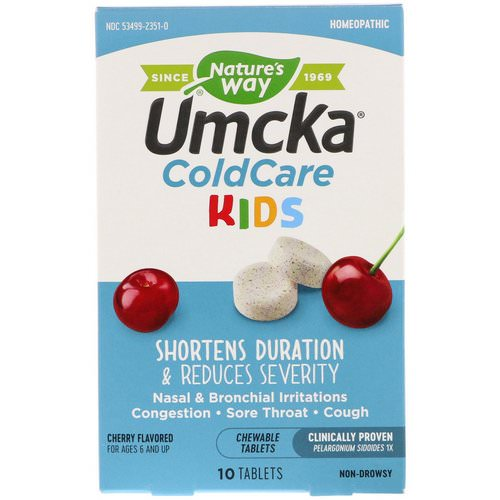 Nature's Way, Umcka, ColdCare Kids, Cherry Flavored, 10 Chewable Tablets Review