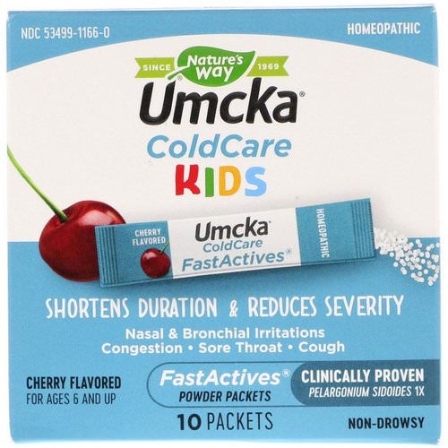 Nature's Way, Umcka, ColdCare Kids, FastActives, Cherry Flavored, 10 Powder Packets Review
