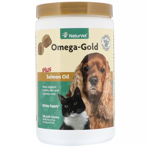 NaturVet, Omega-Gold Plus Salmon Oil, For Dogs and Cats, 180 Soft Chews Review