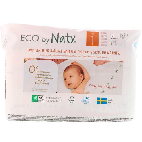Naty, Diapers for Sensitive Skin, Size 1, 4-11 lbs (2-5 kg), 25 Diapers Review