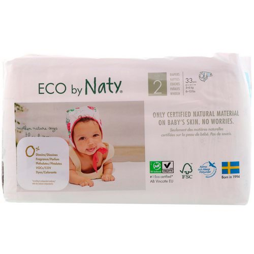 Naty, Diapers for Sensitive Skin, Size 2, 6-13 lbs (3-6 kg), 33 Diapers Review